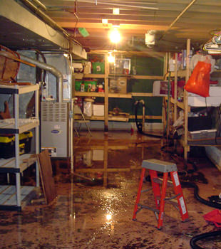 a flooded home in Southbury